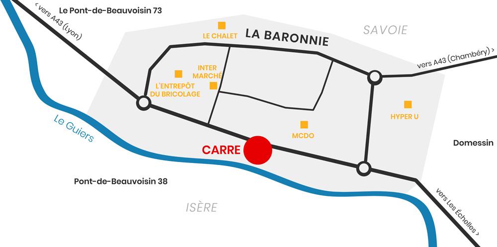Plan - Situation géographique du magasin Carre - La Baronnie - 73330 Le Pont-de-Beauvoisin